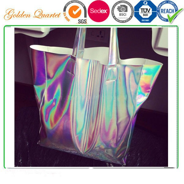 HOLOGRAPHIC Gammaray Trendy Hologram Metallic Silver Shopping Bag Shoulder Tote