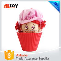 Red Girl Doll in Plastic Flower Pot Plush Toy