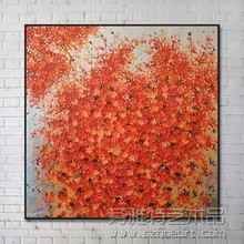 Hot framed modern flower oil painting with silver foil