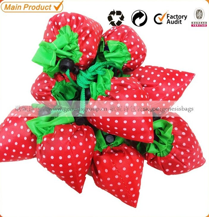 cheap eco-friendly 190T polyester foldable reusable shape strawberry folding bag