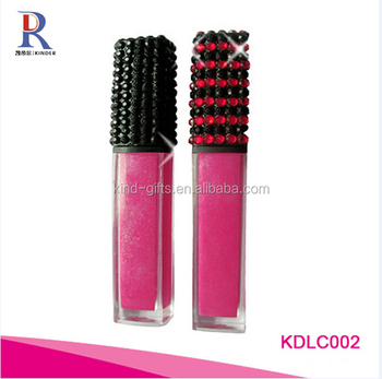 Plush luxury new bling glitter diamond beaded colored led balm empty lip gloss tube