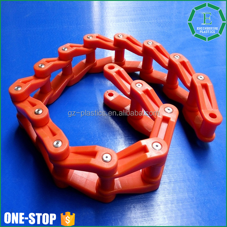 Automatic full plastic bottle chain red color POM material plastic tire snow conveying chain