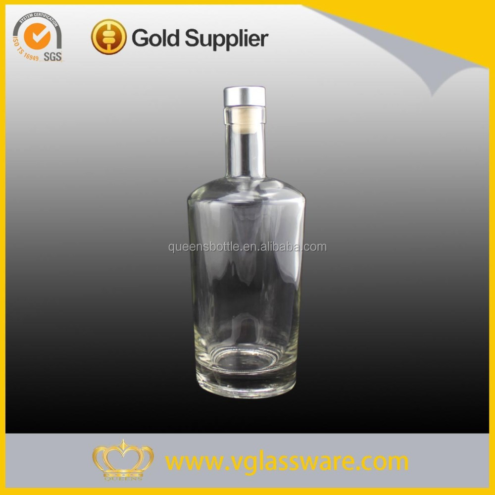 Cork top big glass vodka bottle container