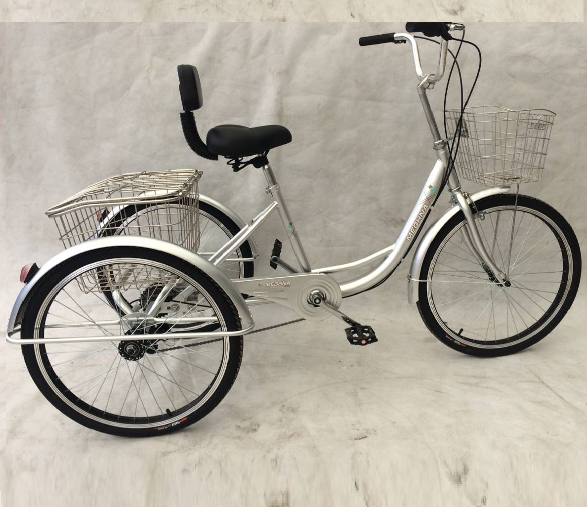 adult pedal tricycle with front and rear stainless basket and 20 inch wheels