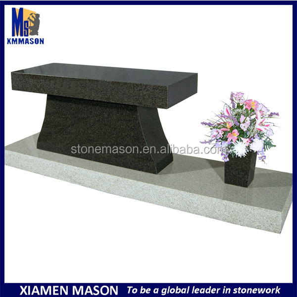 French style stone cemetery granite bench for memorial