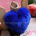 CX-R-46 Crafts Shape Of Love Heart Key Chain Toy Rex Rabbit Fur Lovely Key Ring
