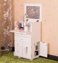 White color wooden dressing table dresser cabinet with brake wheels