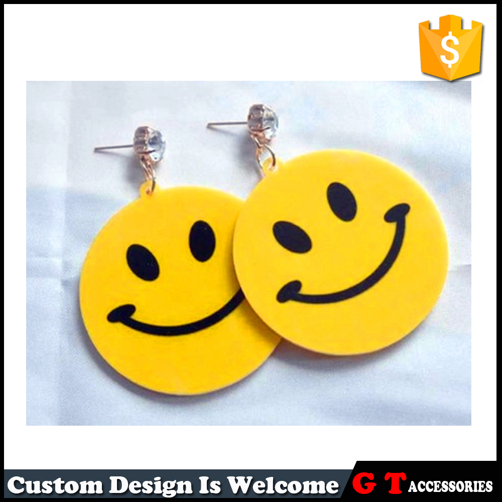 Cheap Factory Yellow Round Lovely Smiling Face shaped Acrylic Earring Lucky Jewelry For Women