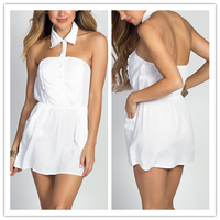 China Wholesale Halter Collar Button Down Cotton Shirt Mini Dress(16102701)