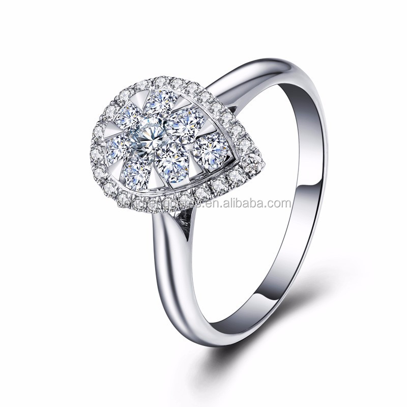 Latest Design Jewellery Sparkle Ring Setting 18K White Gold Heart Diamond Drill Bit Slim Bridal Engagement Ring