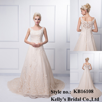 2015 factory price sleeveless elegant long trailing champagne wedding gown