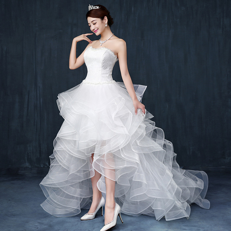 2015 Latest Sexy Front Short Back Long Princess Wedding dresses