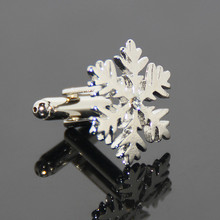 China Manufacture Snowflake Shaped Cufflinks Christmas Gifts Luxuriant Design Shirt Cuff Clips