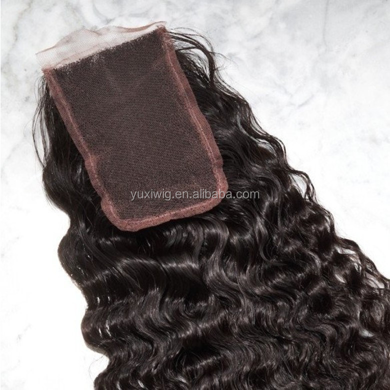2016 Indian human virgin hair top lace closure,deep wave free part silk lace closure,crochet lace closure