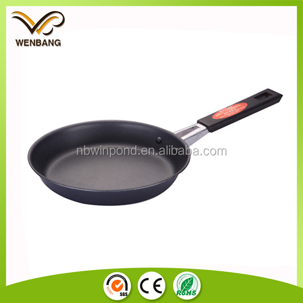 Carbon steel fry pan non-stick round flat griddle pan