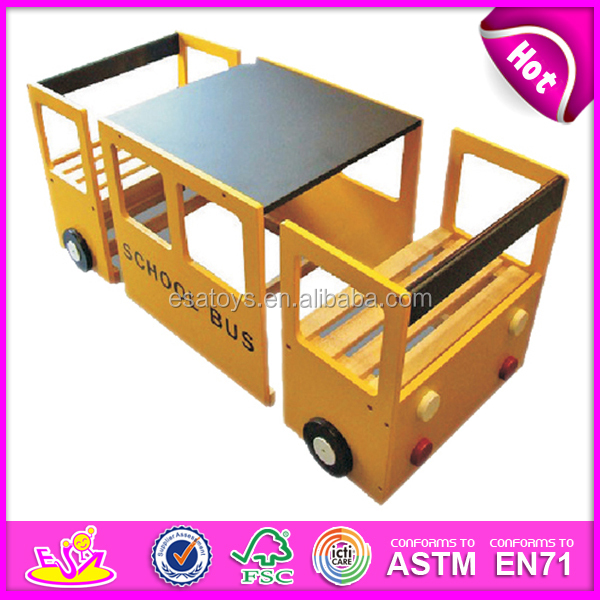 School Bus Wooden Kids Study Table And Chair With Blackboard Toy