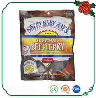 custom printing stand up smoky beef jerky bag with euro slot hole and clear window