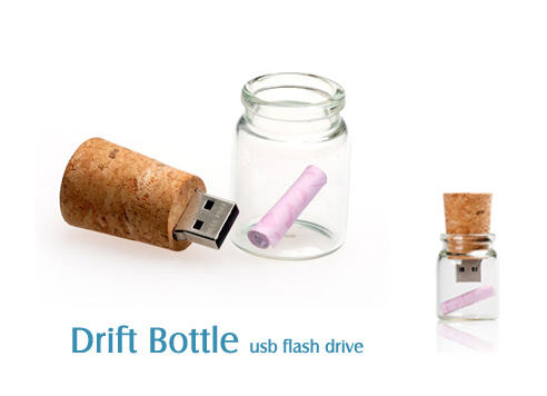 Bulk Cheap Drifting Bottle Shape USB Stick 1GB with Customized Logo