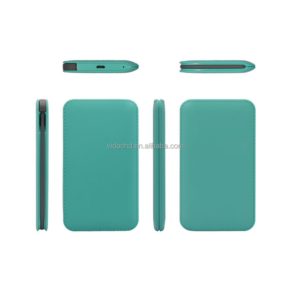 4000mAh Slim Compact Power Bank Built-in Micro Cable External Battery Charger for Universal USB devices