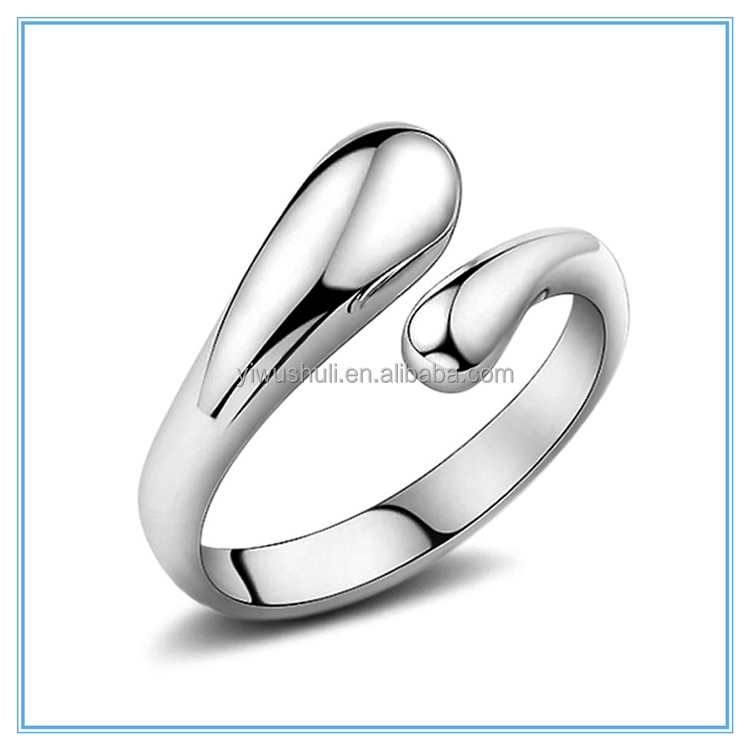 Alibaba Classic Fashion Jewelry 925 Sterling <strong>Silver</strong> Plated Adjustable Open Water Drop Ring For Unisex