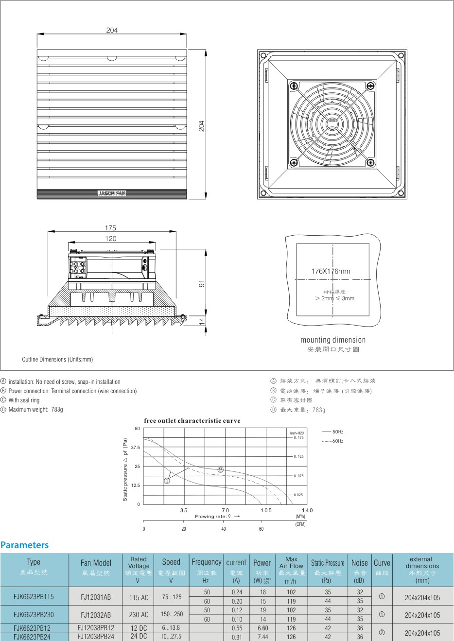 Jason fan AC DC 204*204mm Bathroom Ventilation with Exhaust Fans, air filter for cabinet FJK6623PB