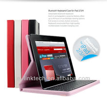 2013 wholesale best mobile Leather bluetooth keyboard cover for Apple New iPad 3 iPad 2,with back case in retail package
