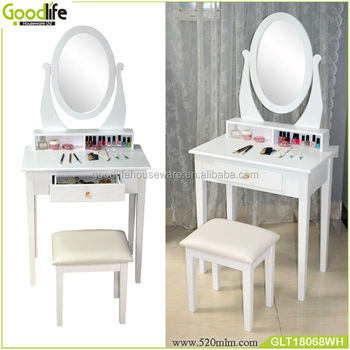 Bedroom white modern dressing table with mirrors
