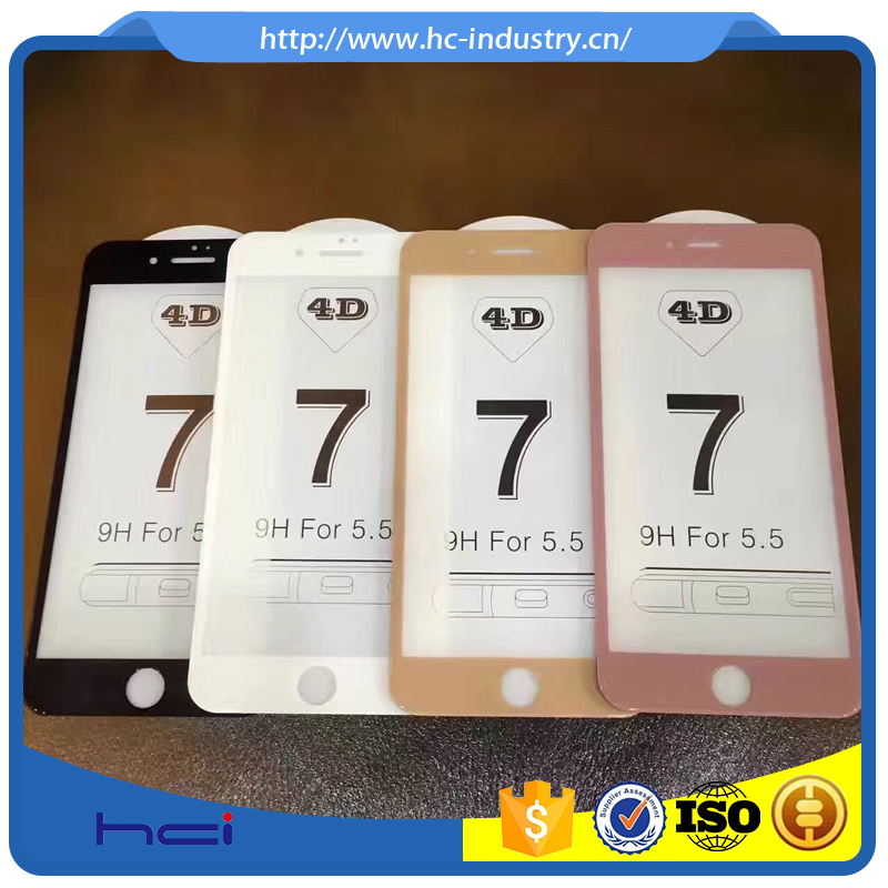 Factory wholesale phone protective for iPhone 7 4D tempered glass screen protector film for iPhone 7