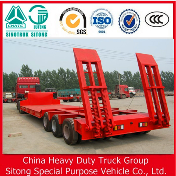Chinese OEM 3 Axle 100T Low Bed Semi Trailer for sale