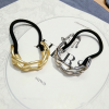 Wholesale gold silver plated curly Hair Ties Elastic Metal hair accessories, women stylish charm elastic hair tie bracelets