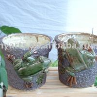 Ceramic Flower Pot Planter With Frog