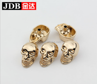 gold fashion metal skull snap button for garment 21mm
