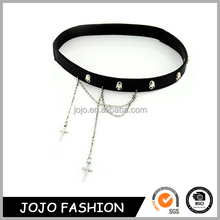 2014 Punk Style Halloween Jewelry Metal Chain Leather Skull Headband for Man