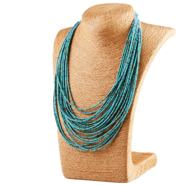 6 Color Bohemia Style 20 Layers Hand-woven Bib Statement Collar Beaded Choker Necklace Fashion Jewelry For Women Wholesale #N030