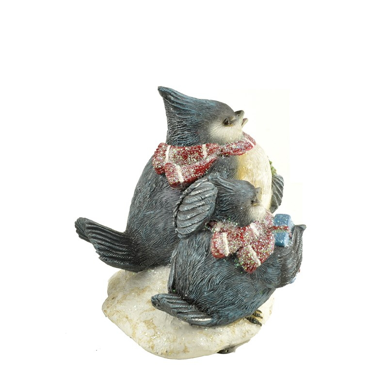 Polyresin christmas blue bird family for home decoration