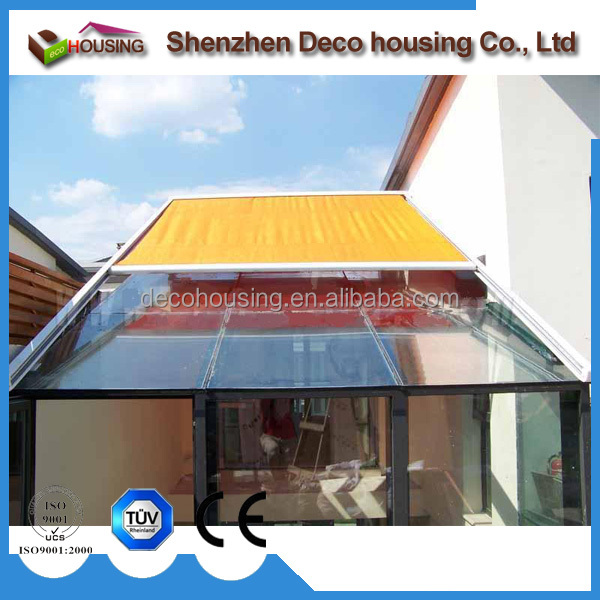 Modern design remote control skylight awning/conservatory canopy/motorized sunroom roof awning