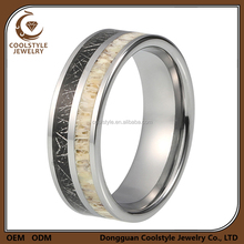 Men's meteorite & deer antler tungsten wedding band ring for couple