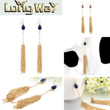 Vintage womens gold tone long tassel earrings natural stone fish hook grils trendy charm fashion earrings