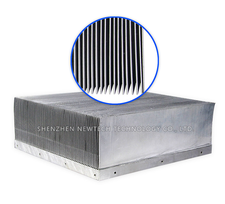Skived fin CNC customized DC/DC power Copper graphene heat sink
