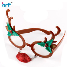 Fancy christmas Reindeer decoration glasses with red nose for kids,X'mas glasses