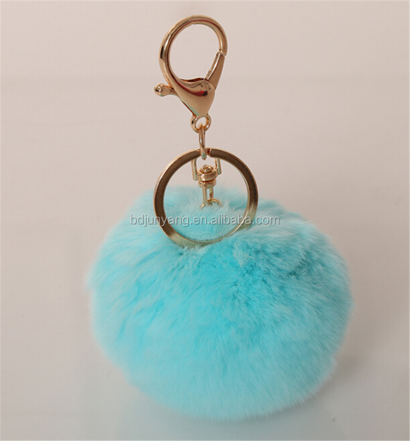 Stock rex rabit fur pom pom with alloy strap car pendant fluffy ball keychain