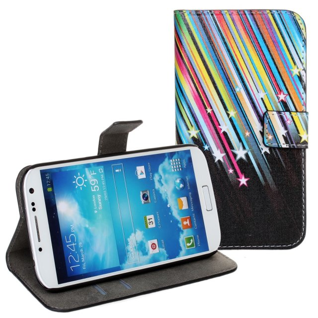 China wholesale falling star stand leather wallet funky phone case for samsung galaxy s4 i9500