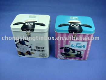 Saving tin box,Money tin box,children coin tin box