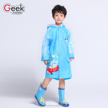 2016 children hit new printing multicolor plastic rain coat