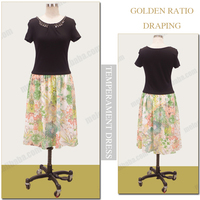 Short sleeve one-piece bohemia flower skirt simple daily wear vestido casuales