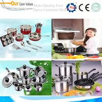 stainless steel kinds of kitchen ware with fry pan and cooking pot