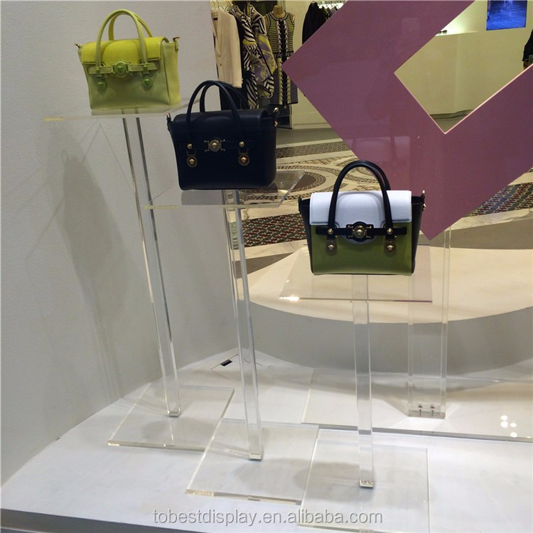 Newly design lucite handbag display stand, bag clothes shoes display rack