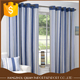 Fashion Blue And Cream Vertical Print Striped Eyelet Lined Curtains