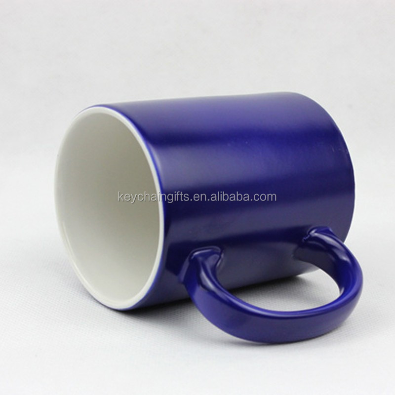 Hot sale blank black white blue tea cup sublimation ceramic mug for promotion
