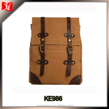 Waxed Canvas Leather Laptop Backpack men school back pack bag